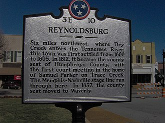 Waverly, Tennessee - THC marker in Waverly recalling the now-defunct town of Reynoldsburg