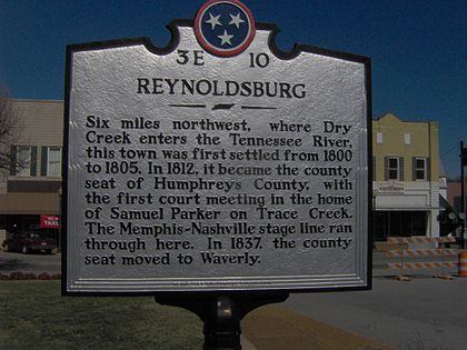 THC marker in Waverly recalling the now-defunct town of Reynoldsburg Waverly-tennessee-reynoldsburg1.jpg