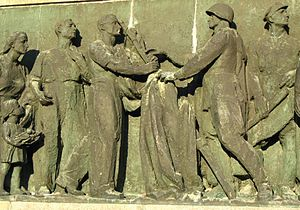 Soviet Military Cemetery, Warsaw - Detail of relief on the left side.