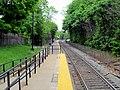 West Roxbury station from mini-high, May 2012.JPG