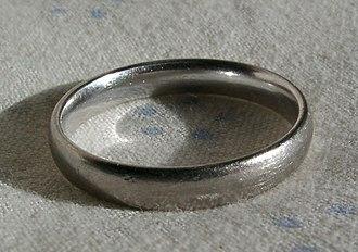 Rhodium - Image: White gold rhodium plated
