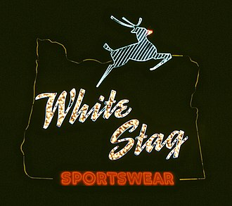 "White Stag (clothing) - For 40 years this sign in Portland advertised White Stag Sportswear. This seasonal photo shows ""Rudolph's"" red nose."