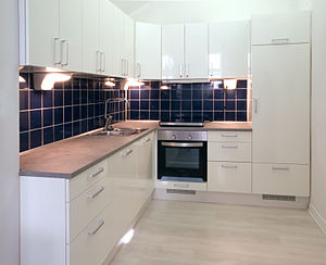 Paint sheen - High-gloss finish used for kitchen elements