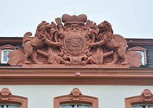 George August, Count of Nassau-Idstein - Coat of arms of George August in Schloss Biebrich.