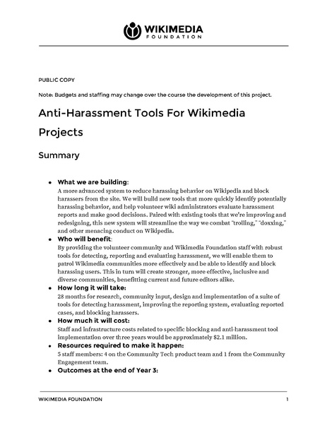 File:Wikimedia Foundation grant proposal - Anti-Harassment Tools For Wikimedia Projects - 2017.pdf