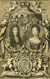 Engraving depicting the king, queen, throne, and arms