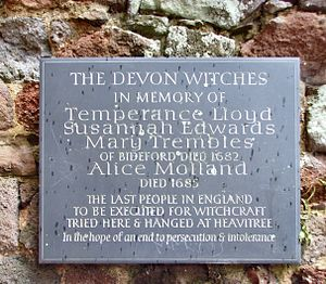 Bideford witch trial - A plaque commemorating the executions on the wall of Rougemont Castle in Exeter.