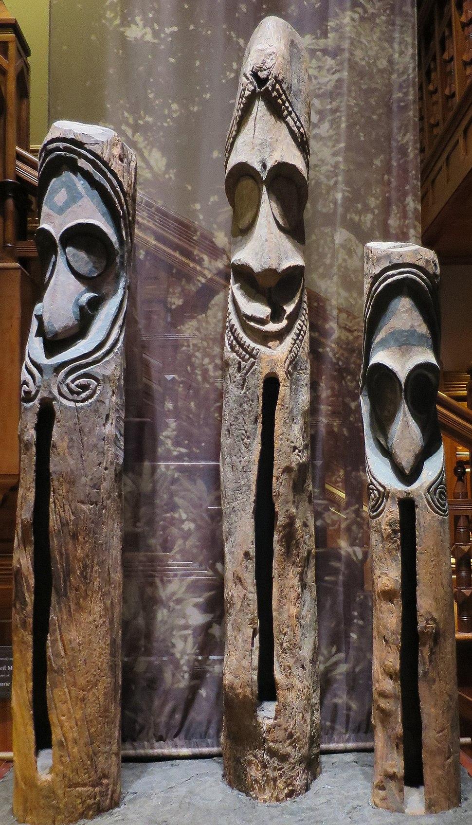 Wooden slit drums from Vanuatu, Bernice P. Bishop Museum