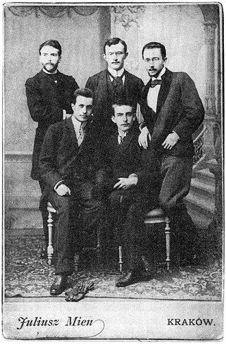 Stanisław Estreicher - Stanisław Estreicher (sitting, right) in January 1893, with (standing, right): S. Wyspiański, L. Rydel, K. Maszkowski, and sitting (left): H.Opieński.