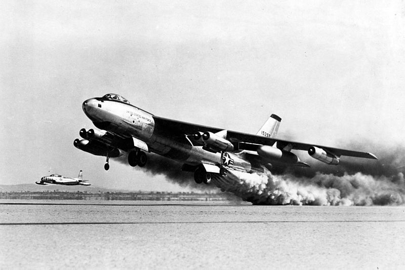A B-47 in take-off.  From Wikipedia.