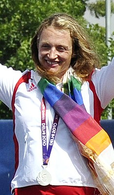 XIX Commonwealth Games-2010 Delhi Archery (Women's Individual Recurve) Alison Jane Williamson of England (Silver) during the medal presentation ceremony (cropped).jpg