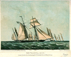 """Thomas Egerton, 2nd Earl of Wilton - Lord Wilton's yacht """"The Xarifa, RYS"""" with behind it the Circassian, Ariel, Fairy, and Flirt, circa 1845. Lithograph T G Dutton after a sketch by  Nicholas Matthews Condy"""