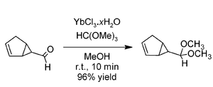 Acetalisation of an acid-sensitive aldehyde using YbCl3 catalyst and trimethyl orthoformate
