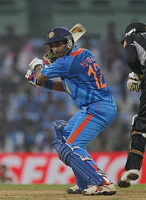 Yuvraj Singh - Yuvraj batting against New Zealand in 2010.