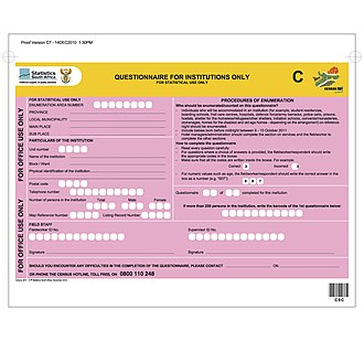 South African National Census of 2011 - Questionnaire C