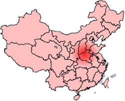 Kart som viser provinsen Henan og to definisjoner av Central Plain eller Zhongyuan