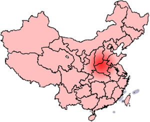 Central Plains War - Map showing the province of Henan and two definitions of the Central Plain (中原) or Zhōngyuán