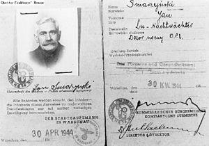 Jankiel Wiernik - Counterfeit Kennkarte of Jankiel Wiernik under the assumed name of Jan Smarzyński.