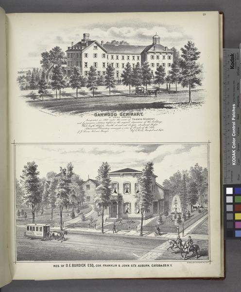 """File:""""Oakwood Seminary; Res. of O.E. Burdick ESQ., Cor. Franklin and John St's Auburn, Cayuga Co. N.Y."""" NYPL1583065.tiff"""
