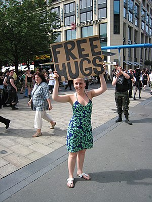 English: 'FREE HUGS', Leipzig, Germany.