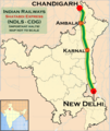(New Delhi - Chandigarh) Shatabdi Express Route map.png