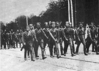 Capture of Kiev by the White Army - The troops of General Bredov entering Kiev on the Sophia Square, August 31, 1919
