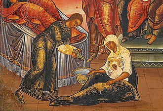 Babinden - Icon Birth of Mary (detail). Russia
