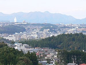 Sendai Daikannon - Sendai Daikannon in the background of Sendai, Japan