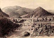 01898 Brücke über den Pruth (Prut) bei Jaremcze (Jaremze) von Karl Jeczmieniowski