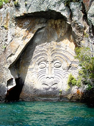 Lake Taupo - Māori rock carvings at Mine Bay on Lake Taupō are over 10 metres high and accessible only by boat or kayak.
