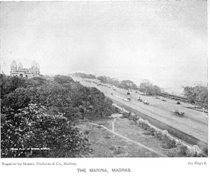 Marina Beach - The beach promenade in 1913