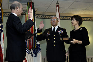George W. Casey Jr. - Acting Secretary of the Army Pete Geren swears in Casey as the 36th Army chief of staff at Fort Myer, Virginia, April 10, 2007.