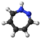 Ball-and-stick model of the 1,2-diazepine molecule