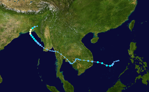 1960 Pacific typhoon season - Track of the unnamed storm that became Cyclone 10B