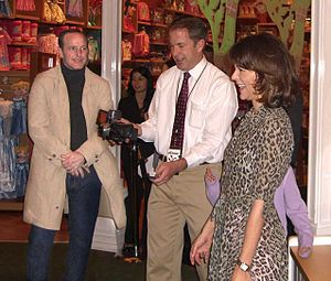 Clark Gregg - Gregg (left) with his wife, Jennifer Grey (right) at the November 30, 2010 Epic Mickey launch party in Manhattan