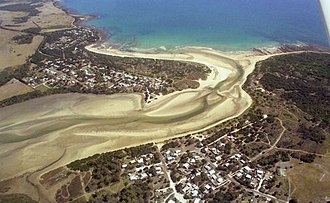 Weymouth, Tasmania - Aerial shot of Weymouth (left) and Bellingham (right)