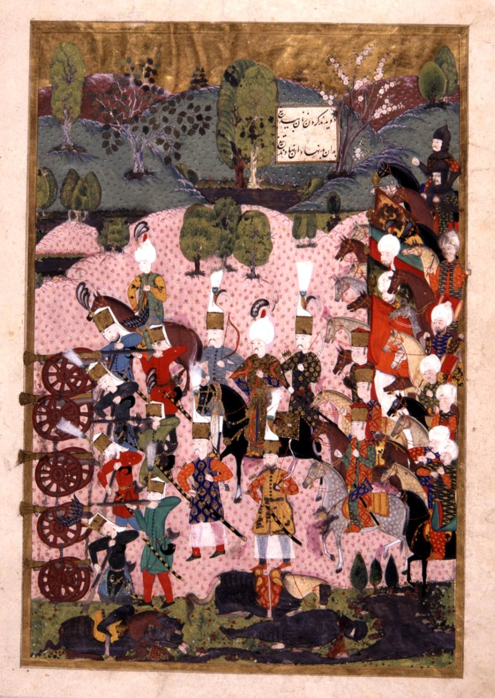 1526-Sultan Suleiman during the Battle of Mohacs-Suleymanname