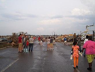 Tuscaloosa, Alabama - Immediate aftermath on 15th street, near the Forest Lake and Cedar Crest neighborhoods