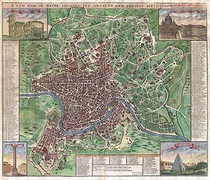 John Senex - A map of Rome by John Senex (1721)