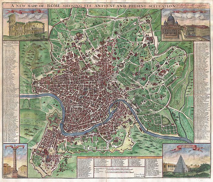 John Senex  Nuova Pianta di Roma 1721