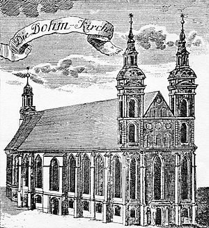Berlin Cathedral - Collegiate Church in 1736 with its new towers