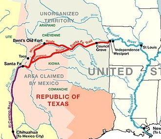 Outline of Colorado prehistory - Image: 1845 Santa Fe Trail