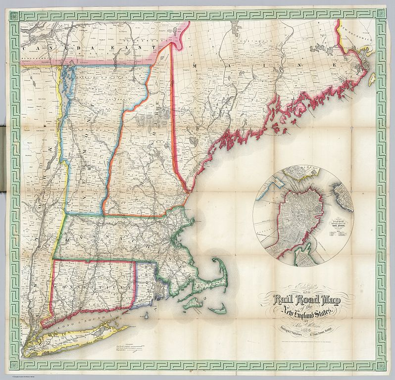 File1855 Telegraph and Rail Road Map of the New England States
