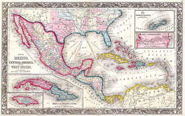 file 1860 mitchell u0026 39 s map of the west indies  mexico and central america