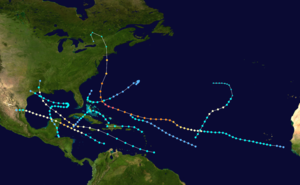 1938 Atlantic hurricane season - Image: 1938 Atlantic hurricane season summary map