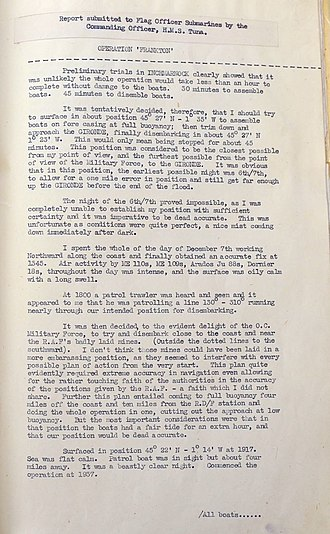 Dick Raikes - The first page of Raikes's post-operational report for Op Frankton