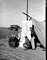 1949. L-R Amos Smeltzer (USFS), Walter J. Buckhorn (BEPQ), Ace Deemers, and John F. Wear (BEPQ) checking western spruce budworm spray areas on Mt. Hood project map. Mt. Hood area, Oregon. (32917470256).jpg