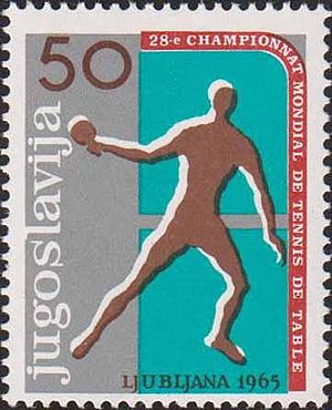 1965 World Table Tennis Championships - A stamp of Yugoslavia dedicated to the 1965 World Table Tennis Championships