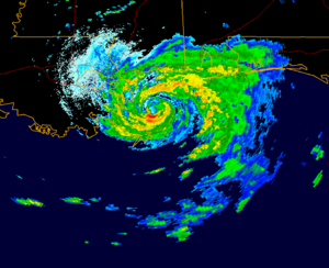 Hurricane Danny (1997) - Hurricane Danny just offshore of the Gulf Coast