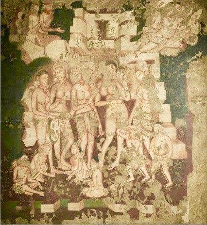 19th century copy of 1st century BCE to 5th century CE Ajanta Cave 2 painting Hariti and Kubera b